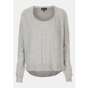 Topshop Sheer Back High Low Grey Sweater Size 6